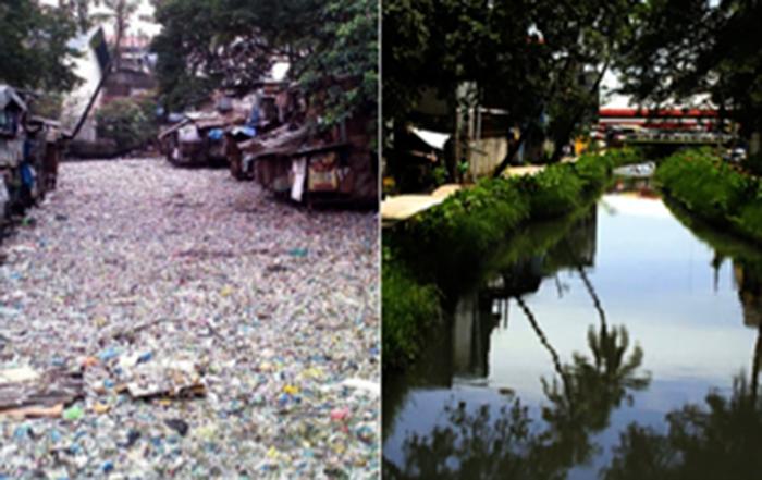 Limpiando el río que pasa por Manila